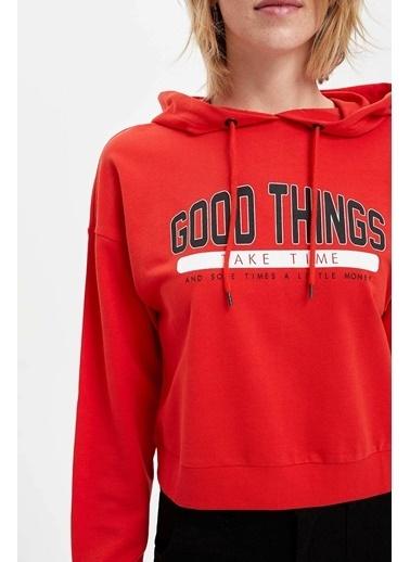 DeFacto Kapüşonlu Yazı Baskılı Sweatshirt Kırmızı